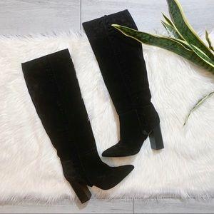 Joie Laisha Black Ruffled Details Knee High Boots